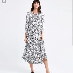 NWT Zara white and black polka-dot maxi dress
